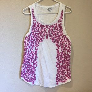 Lucky brand embroidered racer back tank top